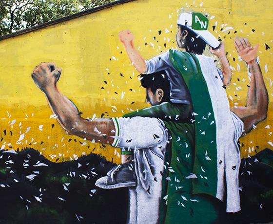 murales futboleros que le hacen homenaje al verde