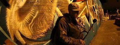 policia nacional de colombia oso grafiti
