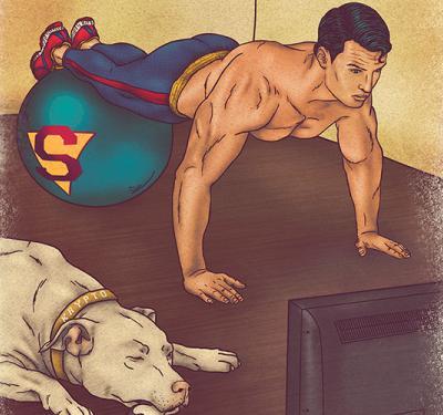 Superman haciendo flexiones